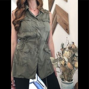 Buffalo Sleeveless Military Green Tunic Sz Sm